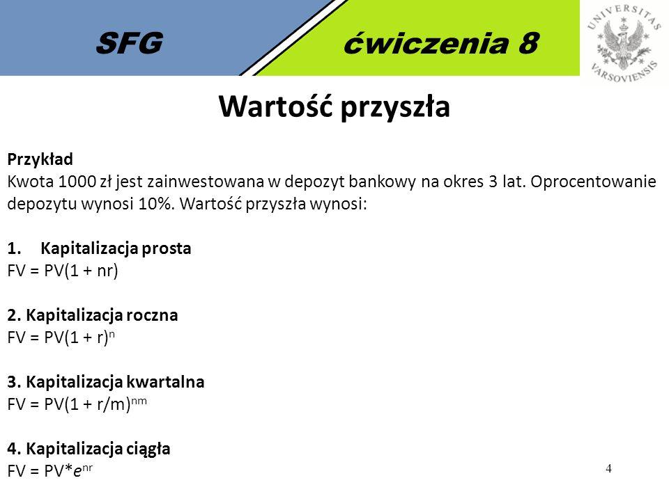4 SFGćwiczenia 8 Wartość przyszła Przykład Kwota 1000 zł jest zainwestowana w depozyt bankowy na okres 3 lat.
