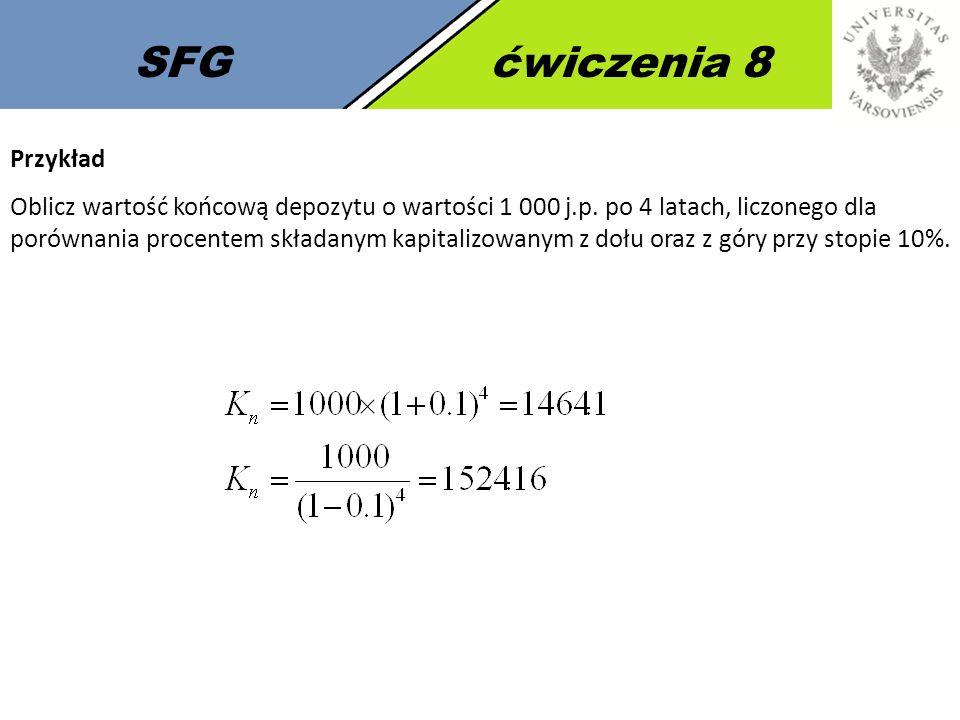 SFGćwiczenia 8 Przykład Oblicz wartość końcową depozytu o wartości 1 000 j.p. po 4 latach, liczonego dla porównania procentem składanym kapitalizowany