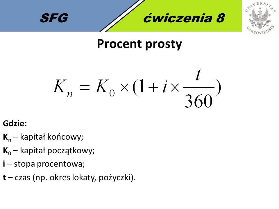 SFGćwiczenia 8 Procent prosty Gdzie: K n – kapitał końcowy; K 0 – kapitał początkowy; i – stopa procentowa; t – czas (np. okres lokaty, pożyczki).