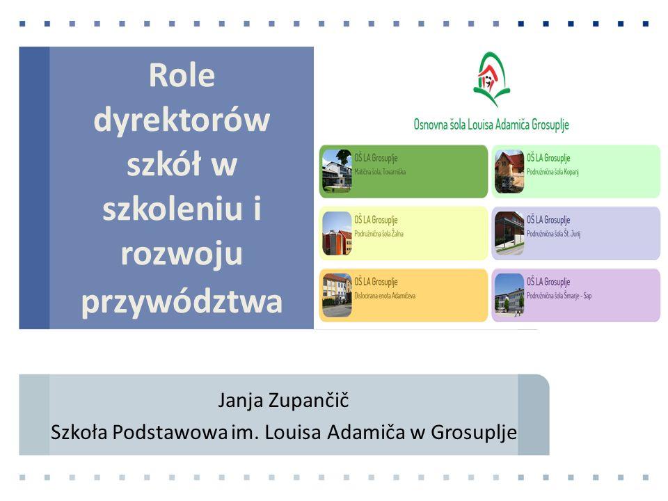 Role dyrektorów szkół w szkoleniu i rozwoju przywództwa Janja Zupančič Szkoła Podstawowa im.