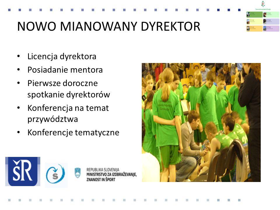 NOWO MIANOWANY DYREKTOR Licencja dyrektora Posiadanie mentora Pierwsze doroczne spotkanie dyrektorów Konferencja na temat przywództwa Konferencje tematyczne