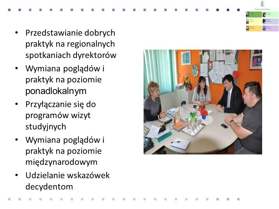 Przedstawianie dobrych praktyk na regionalnych spotkaniach dyrektorów Wymiana poglądów i praktyk na poziomie ponadlokalnym Przyłączanie się do programów wizyt studyjnych Wymiana poglądów i praktyk na poziomie międzynarodowym Udzielanie wskazówek decydentom
