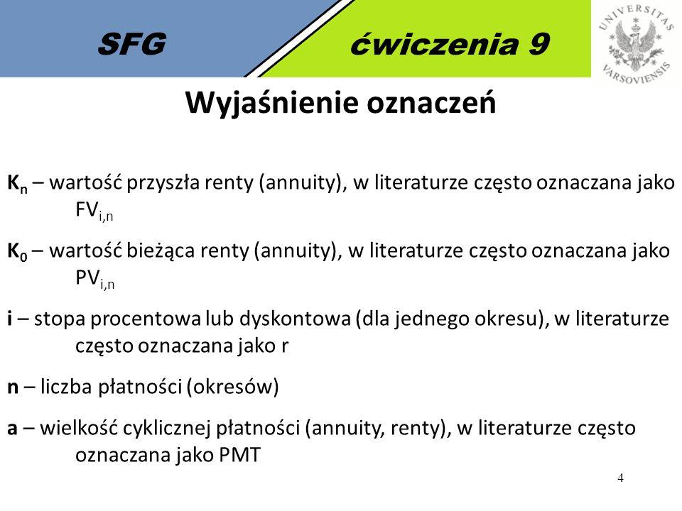 4 SFGćwiczenia 9 Wyjaśnienie oznaczeń K n – wartość przyszła renty (annuity), w literaturze często oznaczana jako FV i,n K 0 – wartość bieżąca renty (