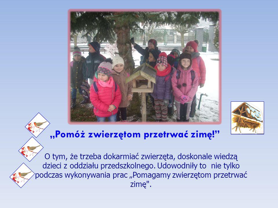 """""""Pomóż zwierzętom przetrwać zimę! O tym, że trzeba dokarmiać zwierzęta, doskonale wiedzą dzieci z oddziału przedszkolnego."""