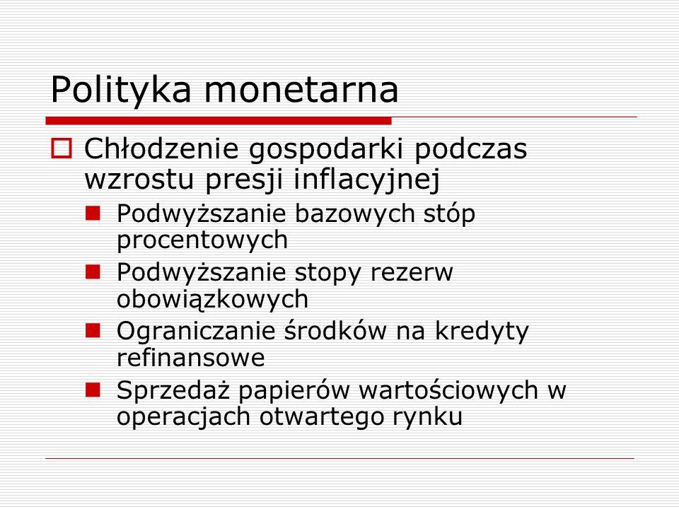 Polityka monetarna  Chłodzenie gospodarki podczas wzrostu presji inflacyjnej Podwyższanie bazowych stóp procentowych Podwyższanie stopy rezerw obowiązkowych Ograniczanie środków na kredyty refinansowe Sprzedaż papierów wartościowych w operacjach otwartego rynku