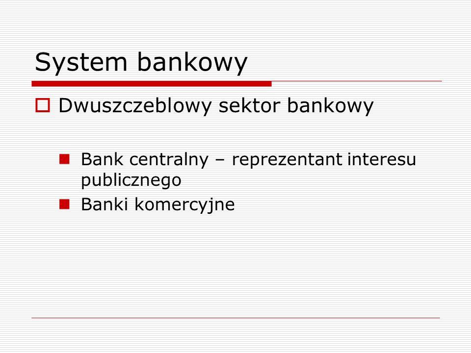 Bank centralny  Element władzy monetarnej (lub unii walutowej)  Odpowiada za podaż pieniądza  Prowadzi politykę pieniężną  Jest organizacją non-profit  W Polsce – NBP, działa na podstawie ustawy o NBP  Główny cel: stabilność cen