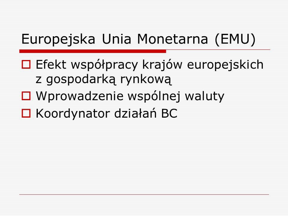 Europejska Unia Monetarna (EMU)  Efekt współpracy krajów europejskich z gospodarką rynkową  Wprowadzenie wspólnej waluty  Koordynator działań BC
