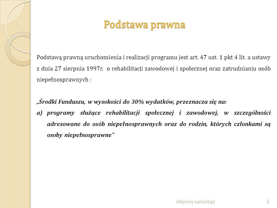 Aktywny samorząd13 WARUNKI UCZESTNICTWA:  stopień niepełnosprawności  wiek aktywności zawodowej (a w przypadku osób w wieku emerytalnym zatrudnienie)  potwierdzona opinia eksperta PFRON stabilność procesu chorobowego  potwierdzone opinia eksperta PFRON rokowania uzyskania zdolności do pracy w wyniku wsparcia udzielonego w programie  brak wymagalnych zobowiązania wobec PFRON lub wobec realizatora programu MAKSYMALNA KWOTA DOFINANSOWANIA: dla protezy na III poziomie jakości, po amputacji:  w zakresie ręki9.000 zł,  przedramienia 20.000 zł,  ramienia i wyłuszczeniu w stawie barkowym26.000 zł,  na poziomie podudzia14.000 zł  na wysokości uda (także przez staw kolanowy)20.000 zł  uda i wyłuszczeniu w stawie biodrowym25.000 zł Możliwość zwiększenia kwoty dofinansowania w wyjątkowych przypadkach i wyłącznie wtedy, gdy celowość zwiększenia jakości protezy do poziomu IV (dla zdolności do pracy wnioskodawcy), zostanie zarekomendowana przez eksperta PFRON.