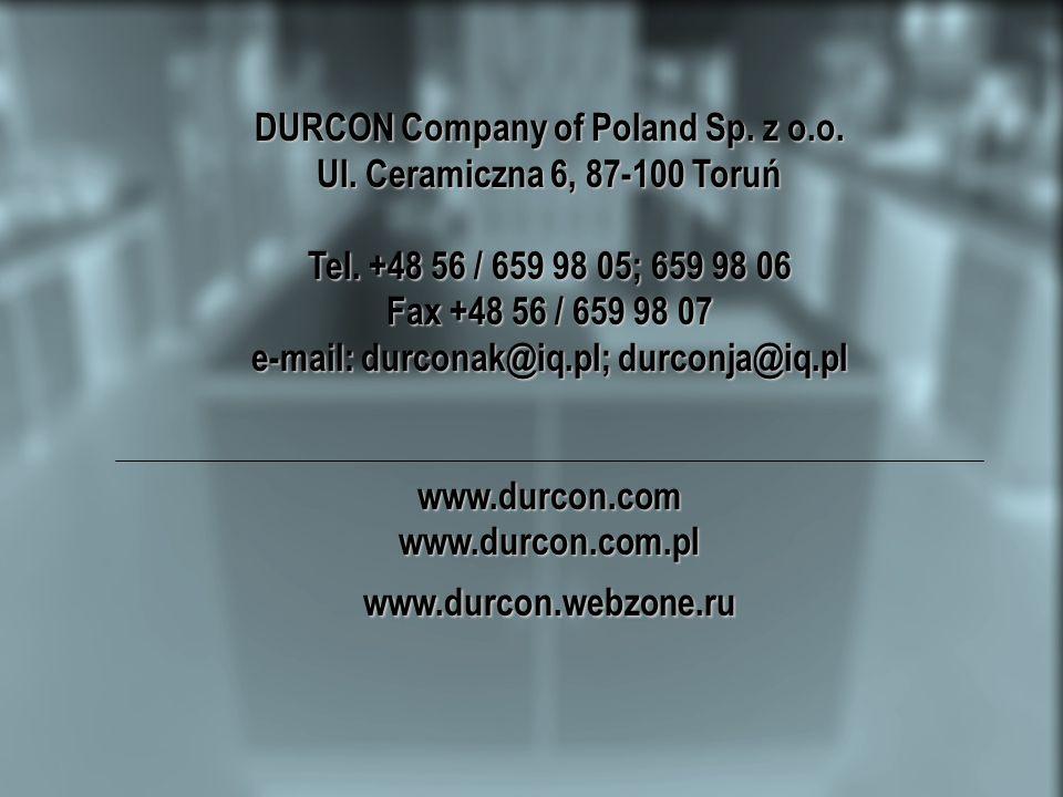 DURCON Company of Poland Sp. z o.o. Ul. Ceramiczna 6, 87-100 Toruń Tel.