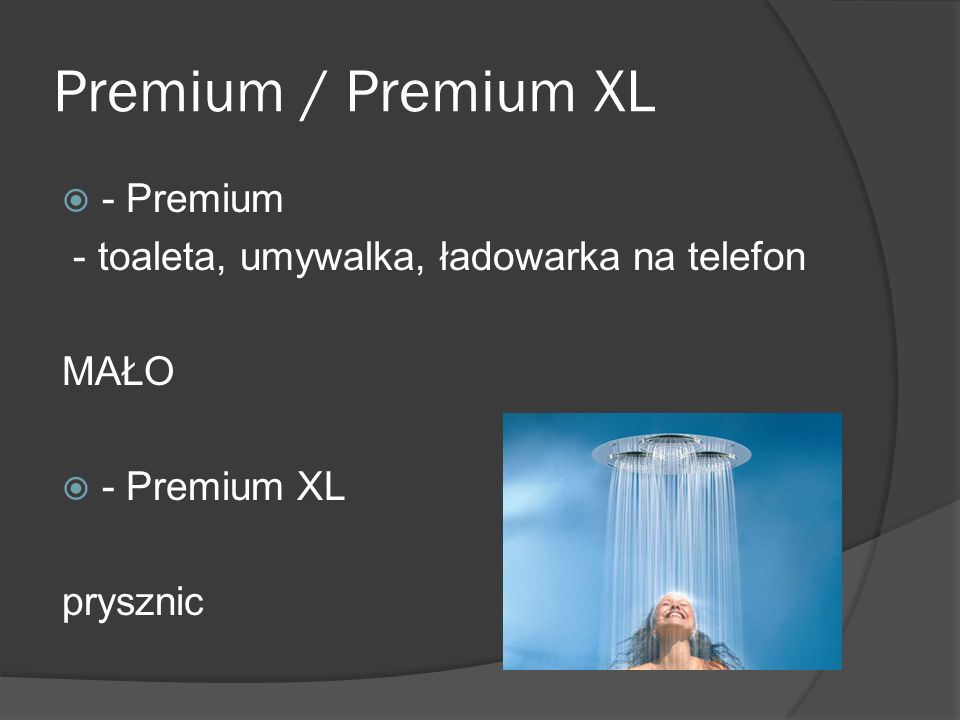 Premium / Premium XL  - Premium - toaleta, umywalka, ładowarka na telefon MAŁO  - Premium XL prysznic