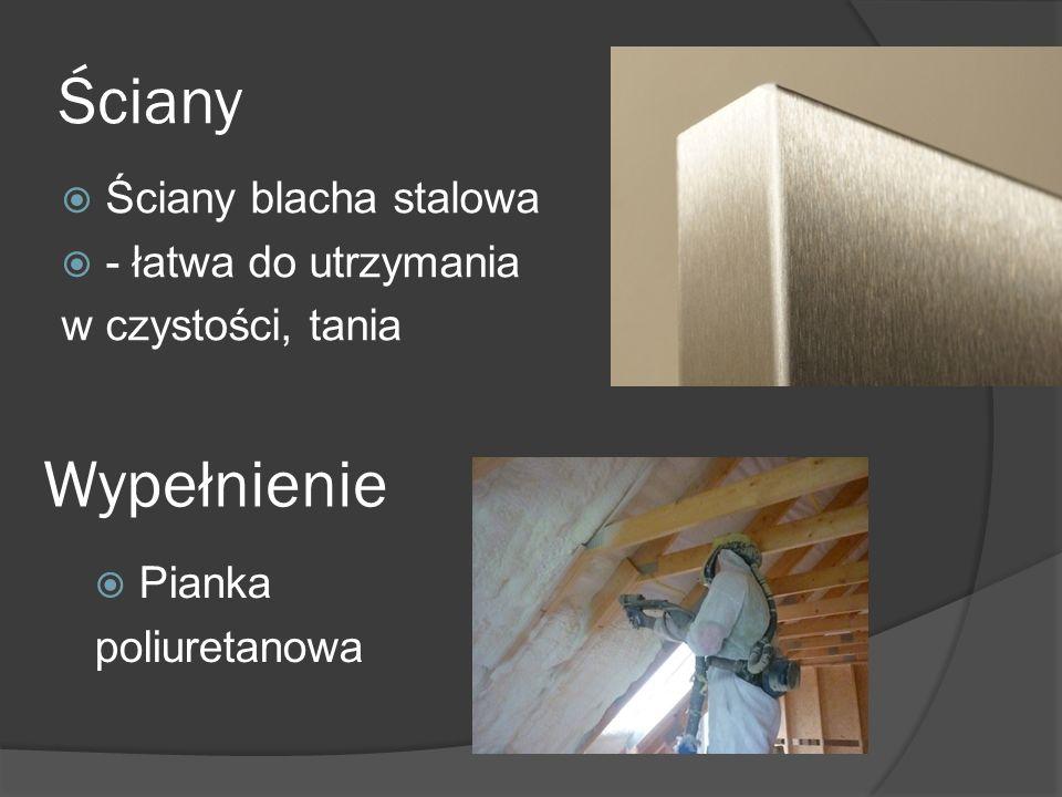 Ściany  Ściany blacha stalowa  - łatwa do utrzymania w czystości, tania Wypełnienie  Pianka poliuretanowa