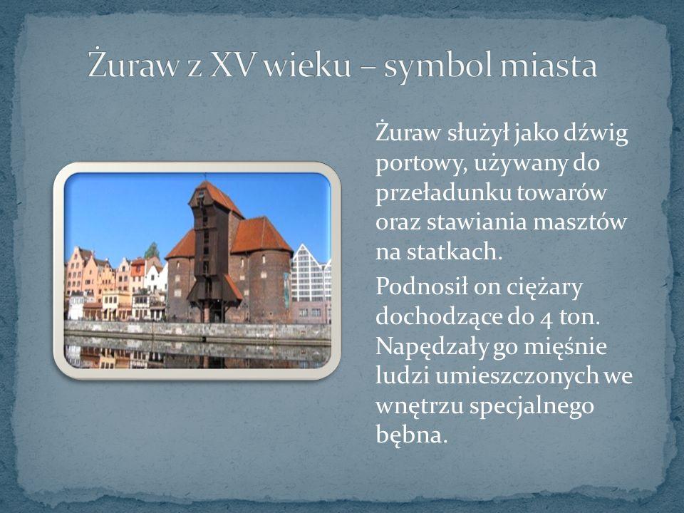 Żuraw służył jako dźwig portowy, używany do przeładunku towarów oraz stawiania masztów na statkach.