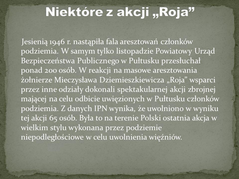 """""""Rój"""" otrzymał rozkaz zorganizowania patrolu Pogotowia Akcji Specjalnej na teren powiatu Ciechanów i został jego dowódcą. Głównym zadaniem patrolu był"""