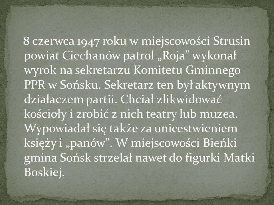 Jesienią 1946 r. nastąpiła fala aresztowań członków podziemia. W samym tylko listopadzie Powiatowy Urząd Bezpieczeństwa Publicznego w Pułtusku przesłu