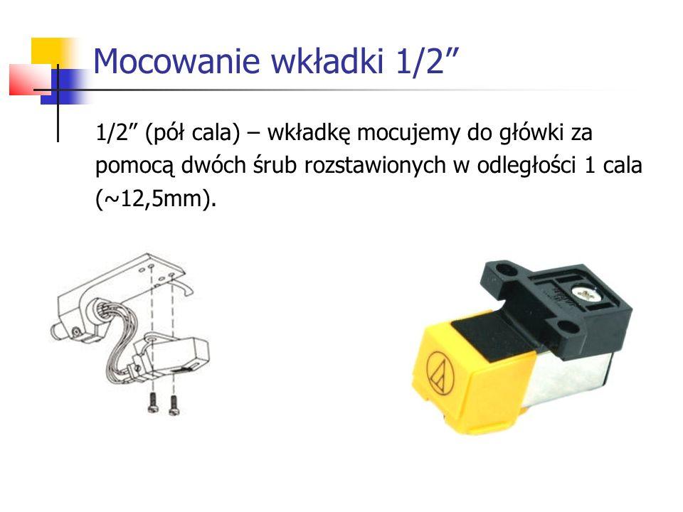 """Mocowanie wkładki 1/2"""" 1/2"""" (pół cala) – wkładkę mocujemy do główki za pomocą dwóch śrub rozstawionych w odległości 1 cala (~12,5mm)."""