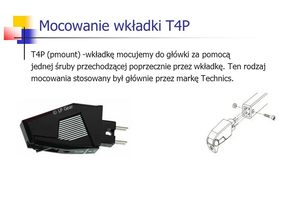 Mocowanie wkładki T4P T4P (pmount) -wkładkę mocujemy do główki za pomocą jednej śruby przechodzącej poprzecznie przez wkładkę. Ten rodzaj mocowania st