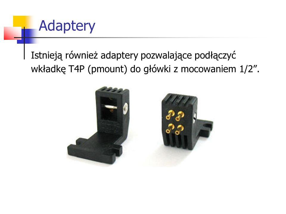 """Adaptery Istnieją również adaptery pozwalające podłączyć wkładkę T4P (pmount) do główki z mocowaniem 1/2""""."""