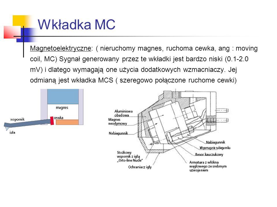Magnetoelektryczne: ( nieruchomy magnes, ruchoma cewka, ang : moving coil, MC) Sygnał generowany przez te wkładki jest bardzo niski (0.1-2.0 mV) i dla