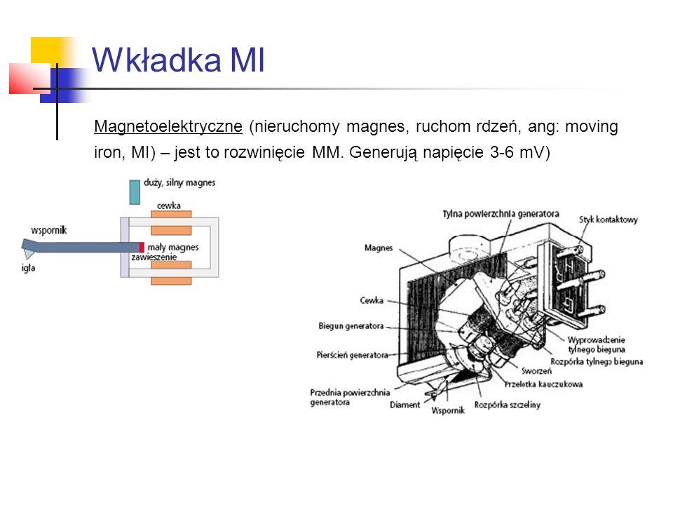 Magnetoelektryczne (nieruchomy magnes, ruchom rdzeń, ang: moving iron, MI) – jest to rozwinięcie MM. Generują napięcie 3-6 mV) Wkładka MI