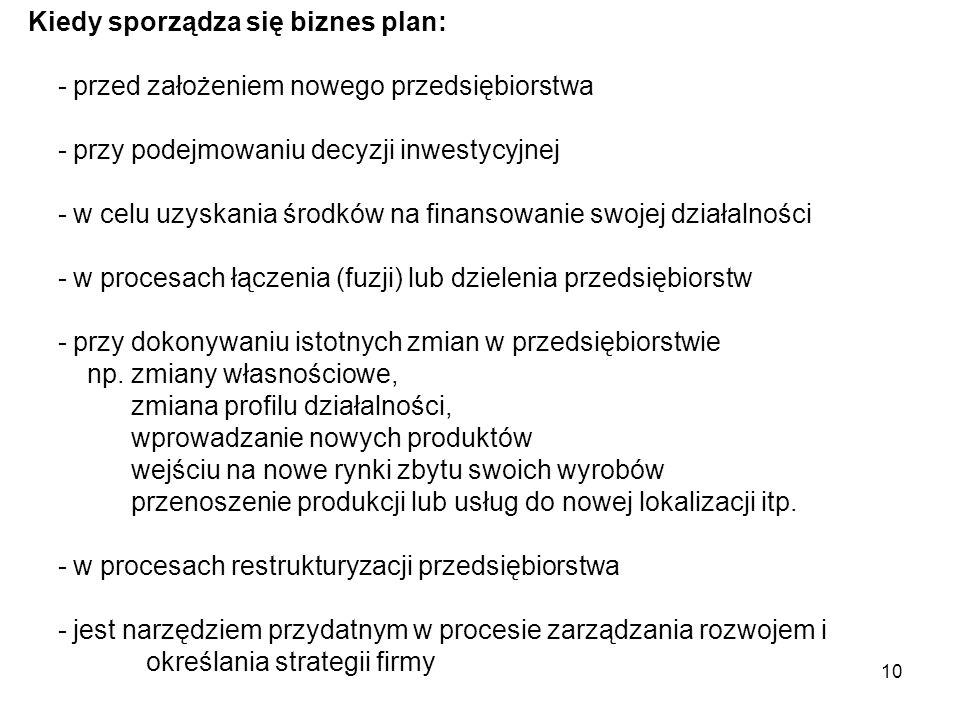 10 Kiedy sporządza się biznes plan: - przed założeniem nowego przedsiębiorstwa - przy podejmowaniu decyzji inwestycyjnej - w celu uzyskania środków na