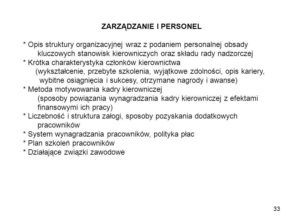 33 ZARZĄDZANIE I PERSONEL * Opis struktury organizacyjnej wraz z podaniem personalnej obsady kluczowych stanowisk kierowniczych oraz składu rady nadzo