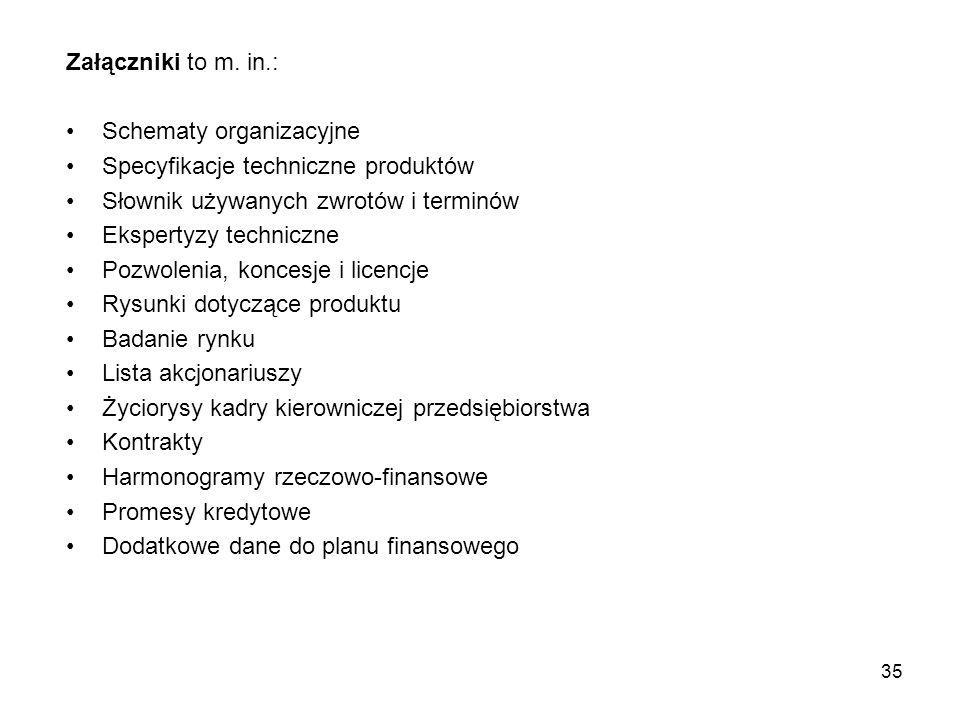 Załączniki to m. in.: Schematy organizacyjne Specyfikacje techniczne produktów Słownik używanych zwrotów i terminów Ekspertyzy techniczne Pozwolenia,