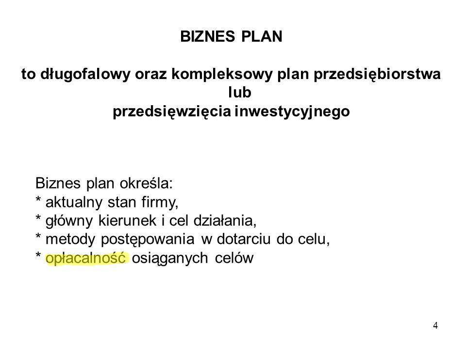 4 BIZNES PLAN to długofalowy oraz kompleksowy plan przedsiębiorstwa lub przedsięwzięcia inwestycyjnego Biznes plan określa: * aktualny stan firmy, * g