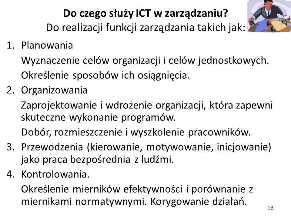 16 Do czego służy ICT w zarządzaniu.