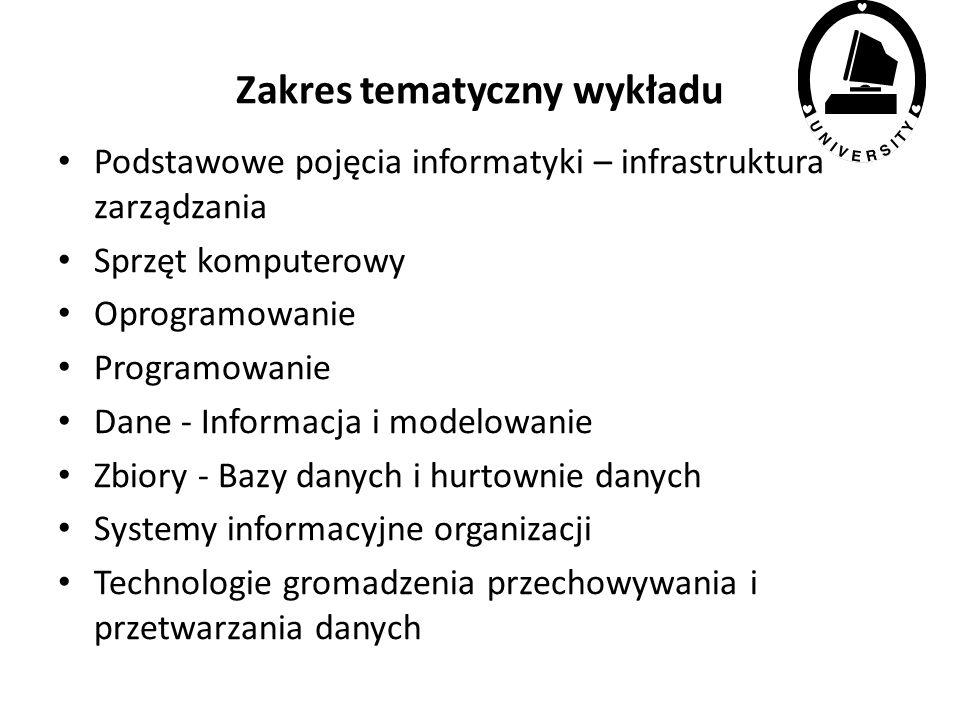 Informatyka podstawy Infrastruktura zarządzania Jerzy Kisielnicki jkisielnicki@wz.uw.edu.pl Opracowanie: materiały własne i źródła internetowe dotyczące sprzętu