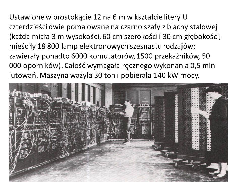 Ustawione w prostokącie 12 na 6 m w kształcie litery U czterdzieści dwie pomalowane na czarno szafy z blachy stalowej (każda miała 3 m wysokości, 60 cm szerokości i 30 cm głębokości, mieściły 18 800 lamp elektronowych szesnastu rodzajów; zawierały ponadto 6000 komutatorów, 1500 przekaźników, 50 000 oporników).