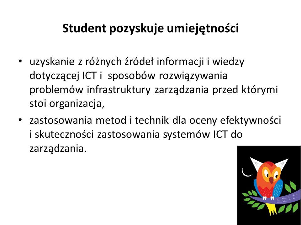 Student pozyskuje umiejętności uzyskanie z różnych źródeł informacji i wiedzy dotyczącej ICT i sposobów rozwiązywania problemów infrastruktury zarządzania przed którymi stoi organizacja, zastosowania metod i technik dla oceny efektywności i skuteczności zastosowania systemów ICT do zarządzania.