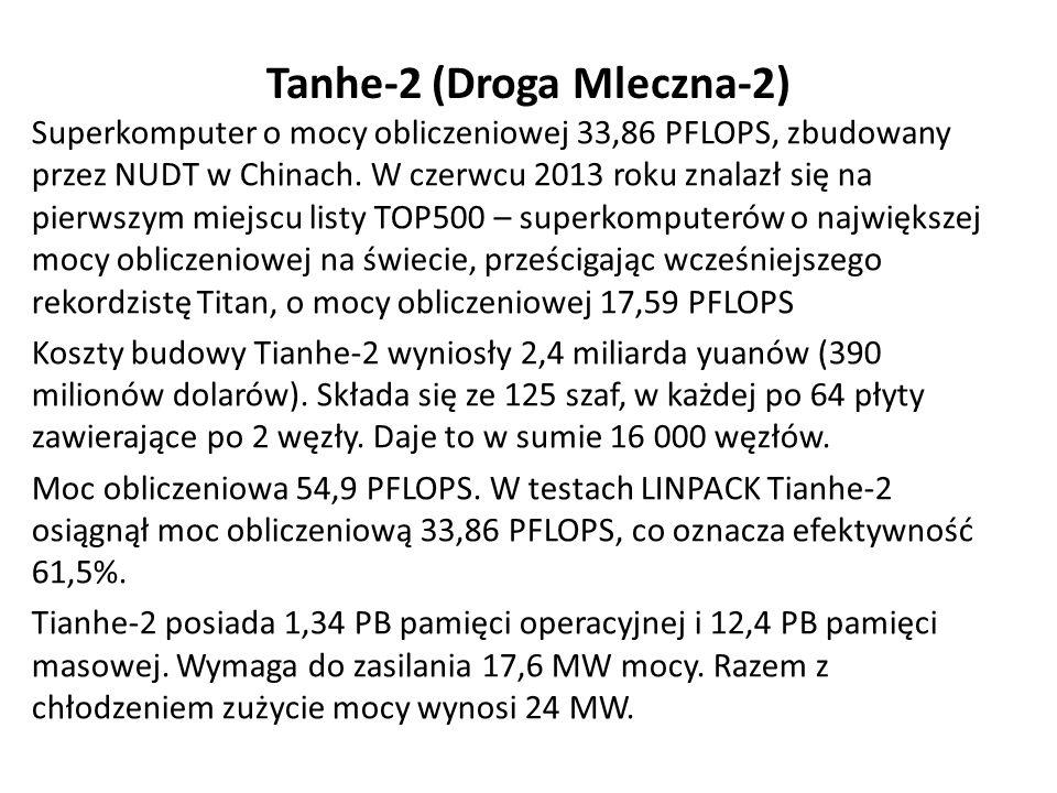 Tanhe-2 (Droga Mleczna-2) Superkomputer o mocy obliczeniowej 33,86 PFLOPS, zbudowany przez NUDT w Chinach.