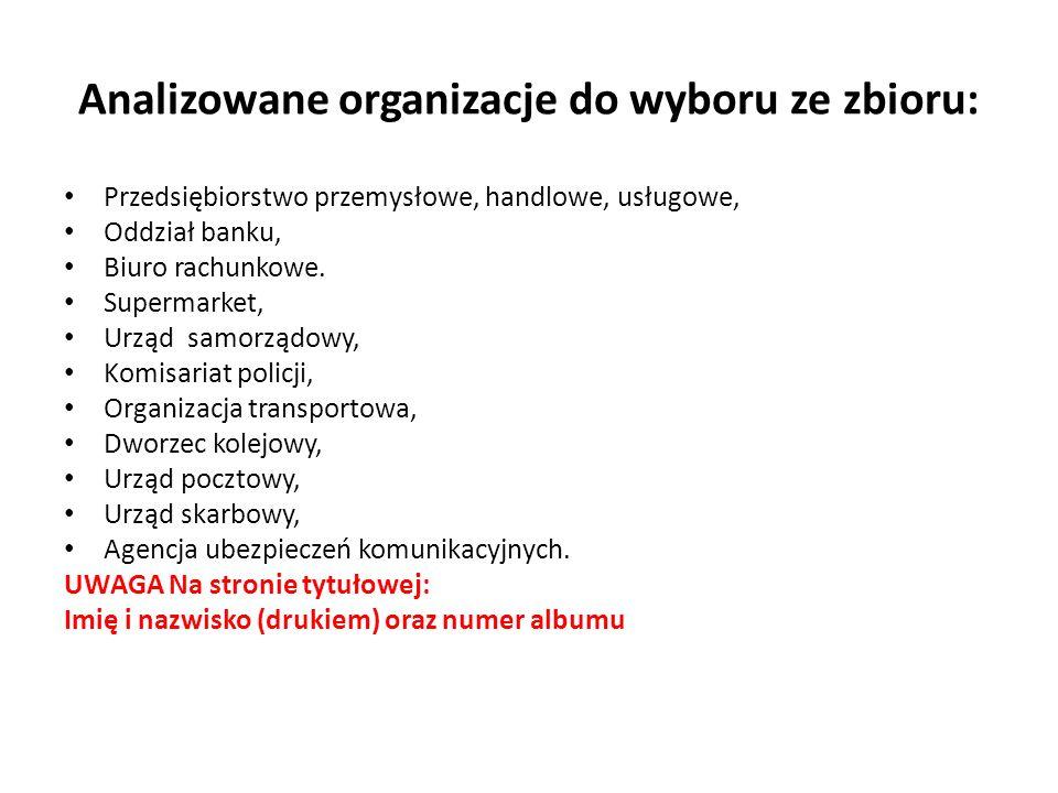 Analizowane organizacje do wyboru ze zbioru: Przedsiębiorstwo przemysłowe, handlowe, usługowe, Oddział banku, Biuro rachunkowe.
