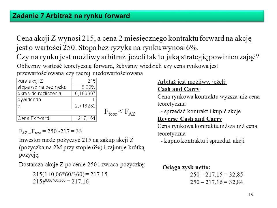 Zadanie 7 Arbitraż na rynku forward Cena akcji Z wynosi 215, a cena 2 miesięcznego kontraktu forward na akcję jest o wartości 250.