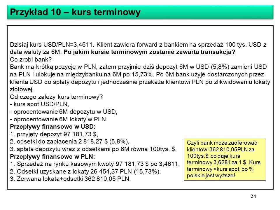 24 Dzisiaj kurs USD/PLN=3,4611. Klient zawiera forward z bankiem na sprzedaż 100 tys.
