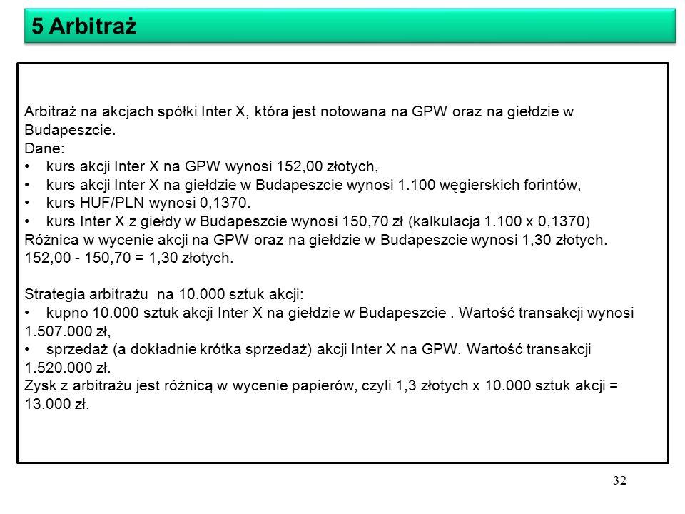Arbitraż na akcjach spółki Inter X, która jest notowana na GPW oraz na giełdzie w Budapeszcie.