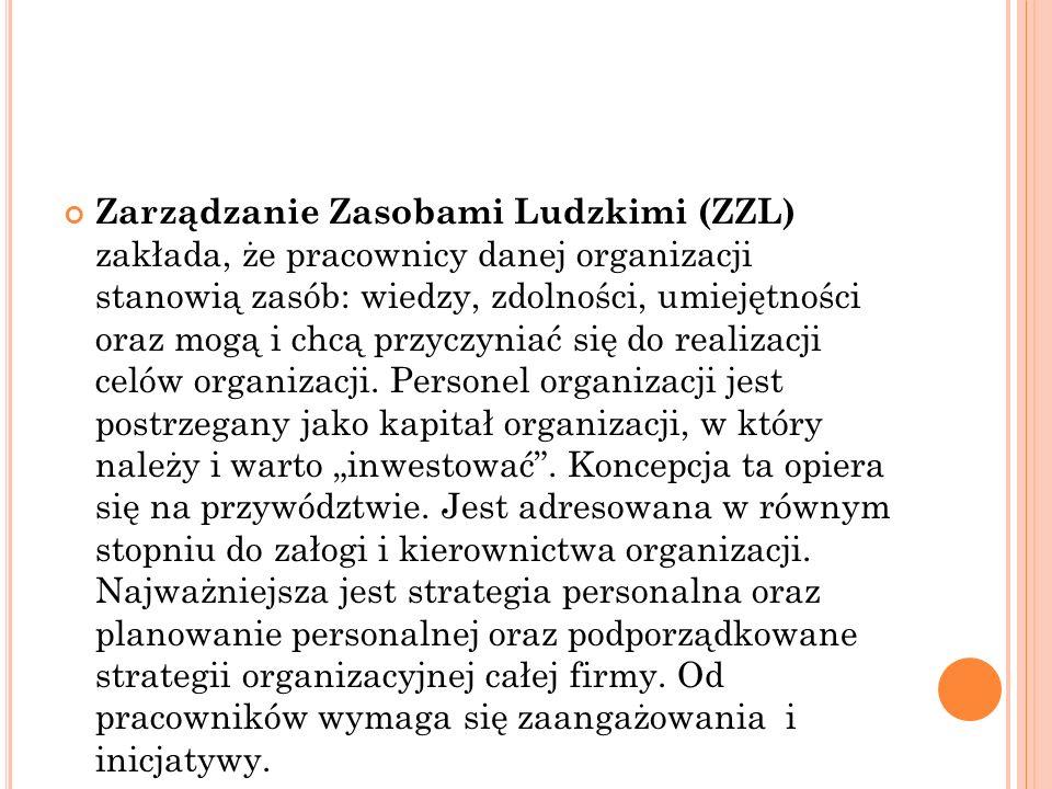Zarządzanie Zasobami Ludzkimi (ZZL) zakłada, że pracownicy danej organizacji stanowią zasób: wiedzy, zdolności, umiejętności oraz mogą i chcą przyczyn
