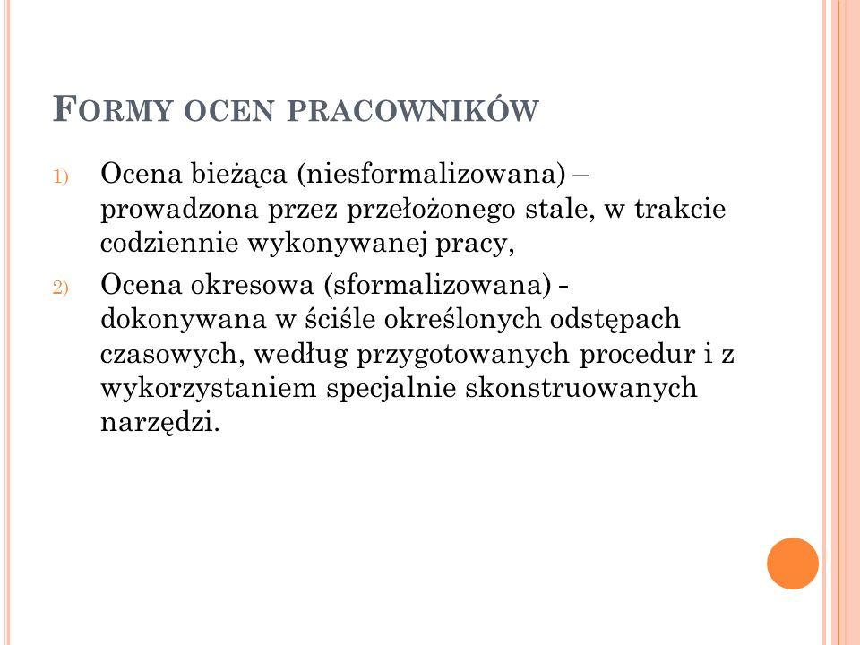 F ORMY OCEN PRACOWNIKÓW 1) Ocena bieżąca (niesformalizowana) – prowadzona przez przełożonego stale, w trakcie codziennie wykonywanej pracy, 2) Ocena o