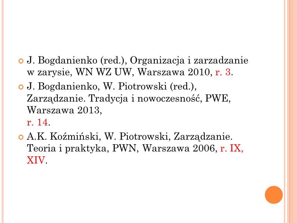 J. Bogdanienko (red.), Organizacja i zarzadzanie w zarysie, WN WZ UW, Warszawa 2010, r. 3. J. Bogdanienko, W. Piotrowski (red.), Zarządzanie. Tradycja