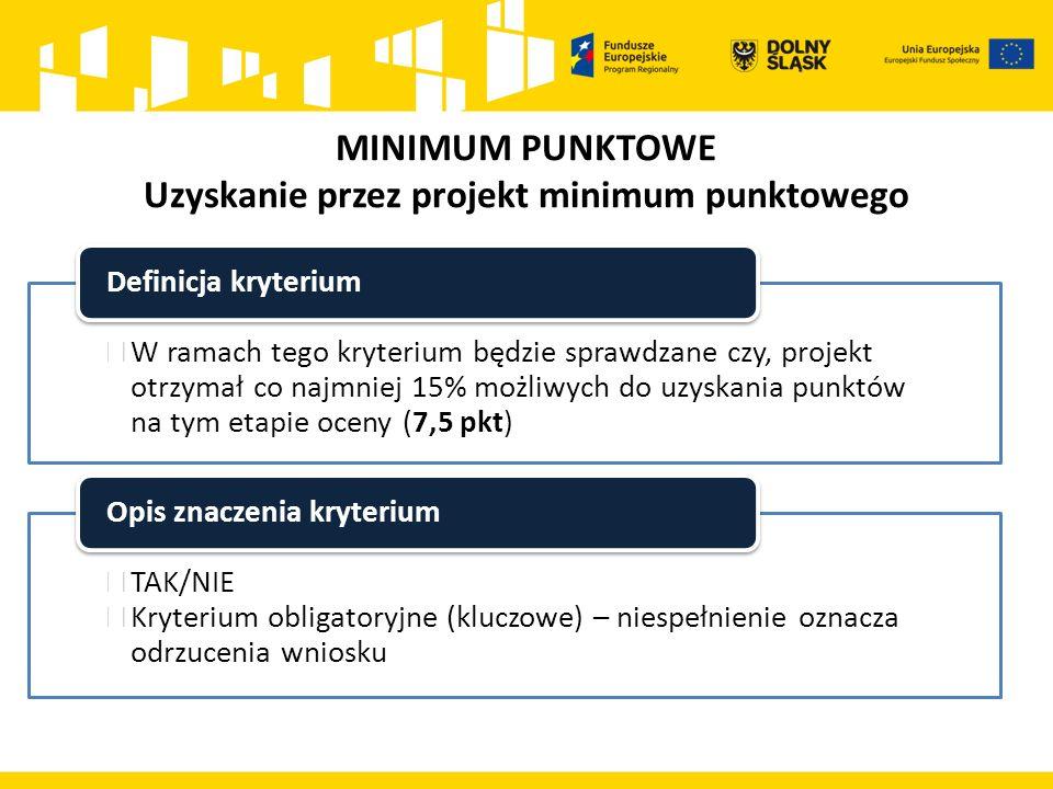 MINIMUM PUNKTOWE Uzyskanie przez projekt minimum punktowego  W ramach tego kryterium będzie sprawdzane czy, projekt otrzymał co najmniej 15% możliwych do uzyskania punktów na tym etapie oceny (7,5 pkt) Definicja kryterium  TAK/NIE  Kryterium obligatoryjne (kluczowe) – niespełnienie oznacza odrzucenia wniosku Opis znaczenia kryterium