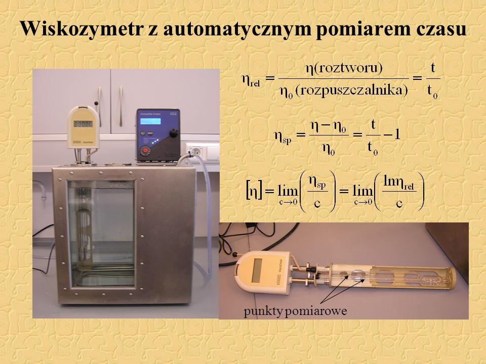 Wiskozymetr z automatycznym pomiarem czasu punkty pomiarowe