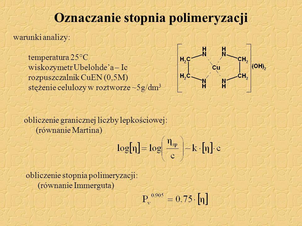 Oznaczanie stopnia polimeryzacji warunki analizy: temperatura 25°C wiskozymetr Ubelohde'a – Ic rozpuszczalnik CuEN (0,5M) stężenie celulozy w roztworz