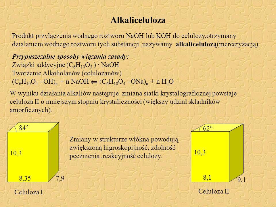 Alkaliceluloza Produkt przyłączenia wodnego roztworu NaOH lub KOH do celulozy,otrzymany działaniem wodnego roztworu tych substancji,nazywamy alkalicel