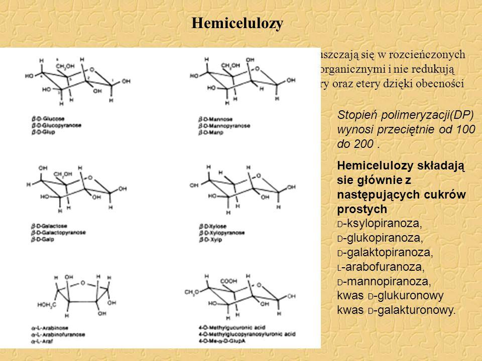 Hemicelulozy Hemicelulozy są to substancje węglowodanowe które rozpuszczają się w rozcieńczonych alkaliach, łatwo hydrolizują z rozcieńczonymi kwasami