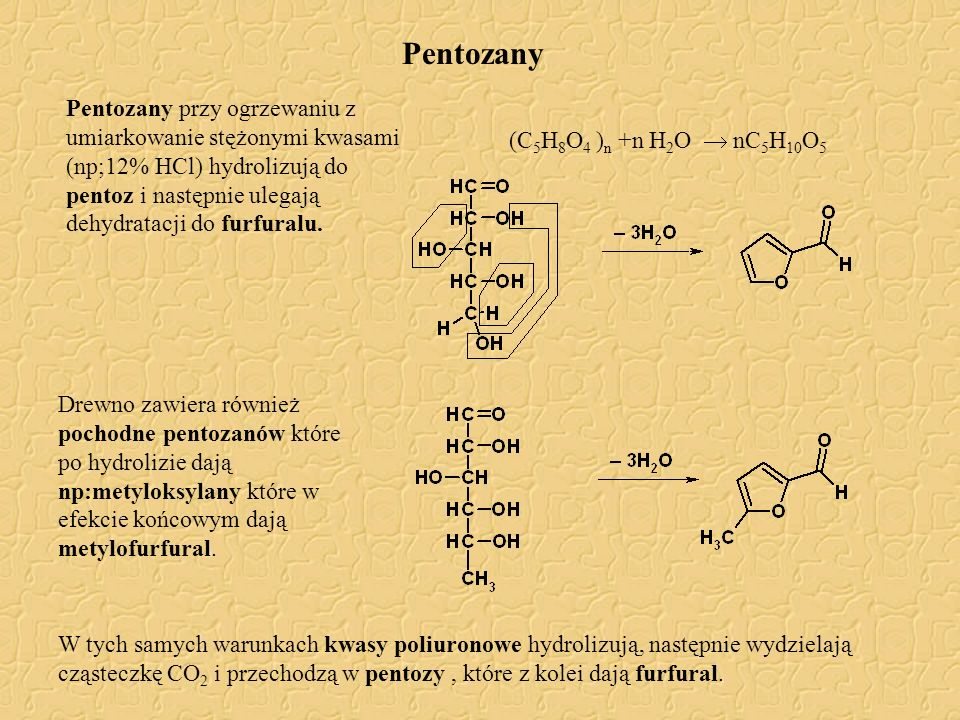Pentozany Pentozany przy ogrzewaniu z umiarkowanie stężonymi kwasami (np;12% HCl) hydrolizują do pentoz i następnie ulegają dehydratacji do furfuralu.