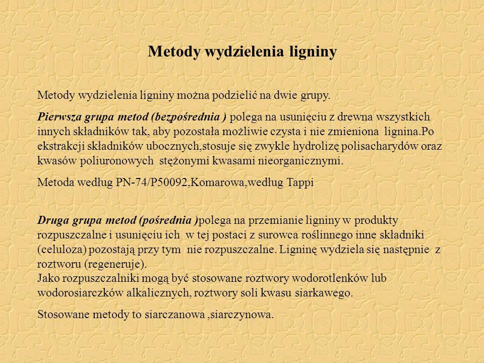 Metody wydzielenia ligniny Metody wydzielenia ligniny można podzielić na dwie grupy. Pierwsza grupa metod (bezpośrednia ) polega na usunięciu z drewna