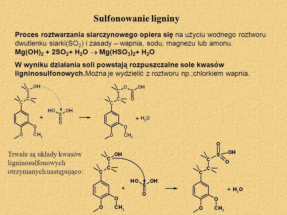 Sulfonowanie ligniny Proces roztwarzania siarczynowego opiera się na użyciu wodnego roztworu dwutlenku siarki(SO 2 ) i zasady – wapnia, sodu, magnezu