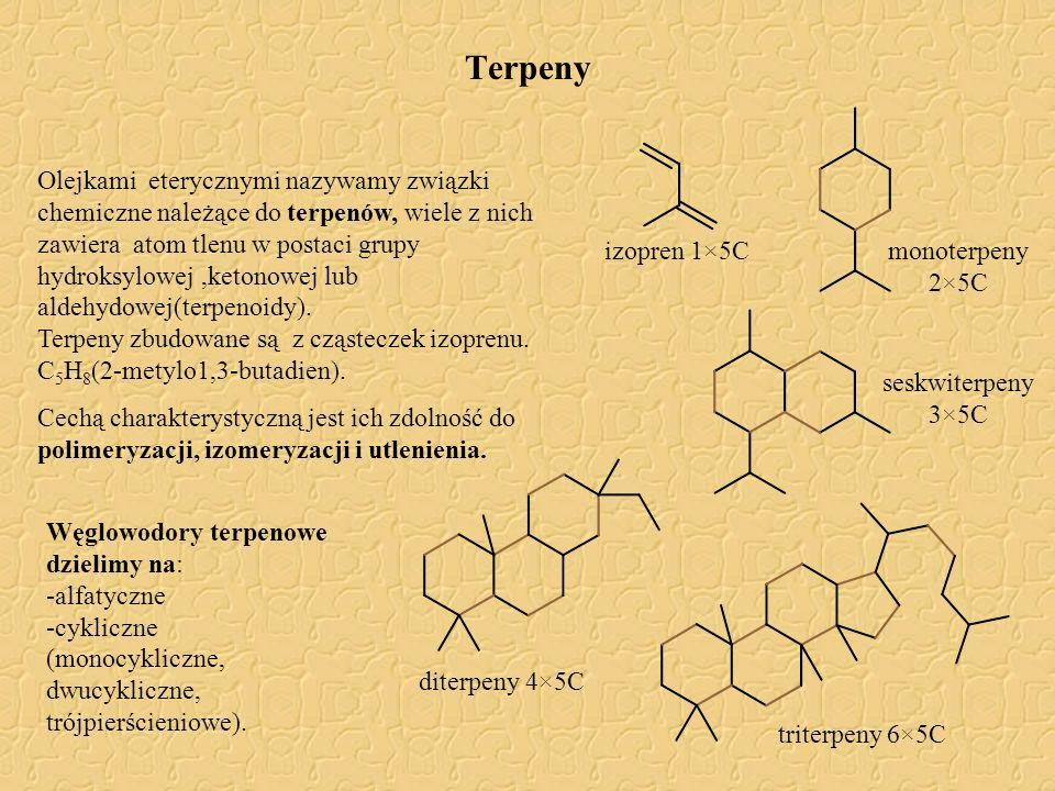 Terpeny Olejkami eterycznymi nazywamy związki chemiczne należące do terpenów, wiele z nich zawiera atom tlenu w postaci grupy hydroksylowej,ketonowej