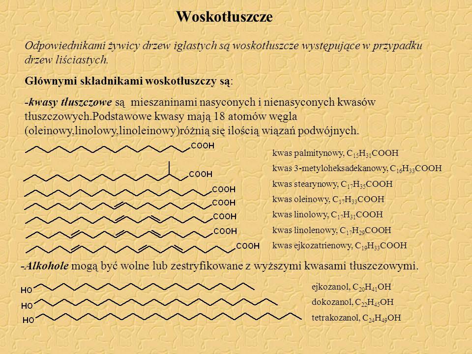 Woskotłuszcze Odpowiednikami żywicy drzew iglastych są woskotłuszcze występujące w przypadku drzew liściastych. Głównymi składnikami woskotłuszczy są: