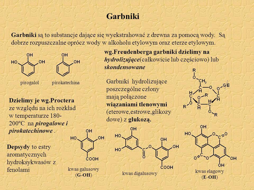 Garbniki Garbniki są to substancje dające się wyekstrahować z drewna za pomocą wody. Są dobrze rozpuszczalne oprócz wody w alkoholu etylowym oraz eter
